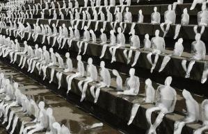 Ice sculptures melting man berlin global warming iceman